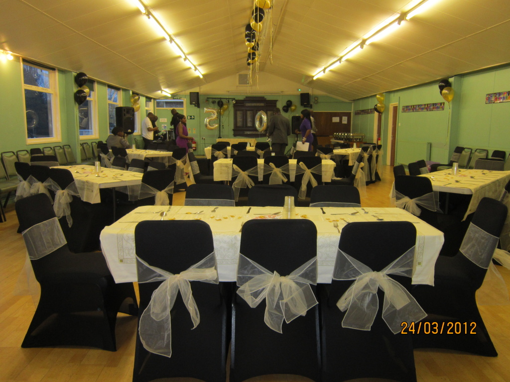 Hall for party with fancy chairs